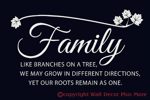 Family Branches with leaves Wall Words Vinyl Decal Stickers