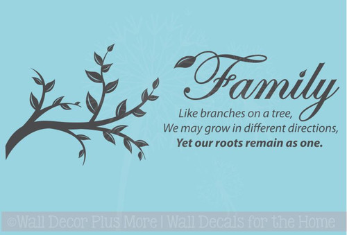Family like branches on a tree Wall Decor Vinyl Decals Sticker Wall Lettering