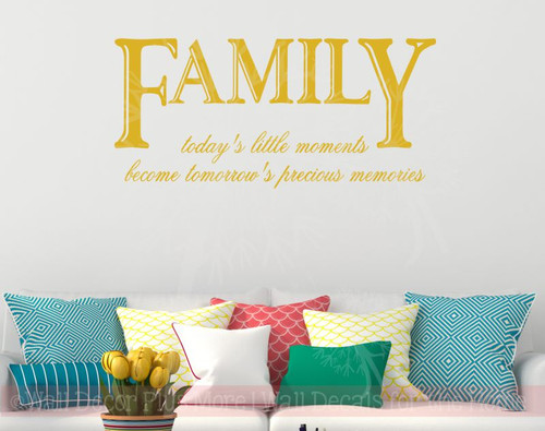Family Today's Little Moments Inspirational Wall Sticker Decals Phrase-Mustard