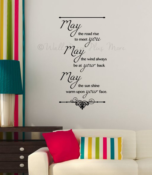 Irish Blessing May the Road Rise to Meet You...Wall Sticker Decals Quote Black