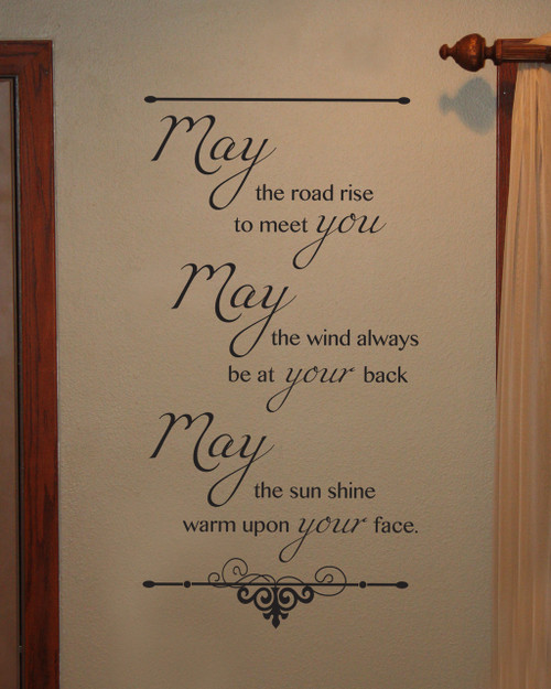 Irish Blessing May the Road Rise to Meet You Wall Sticker Decals Quote Wall Art ChBrown
