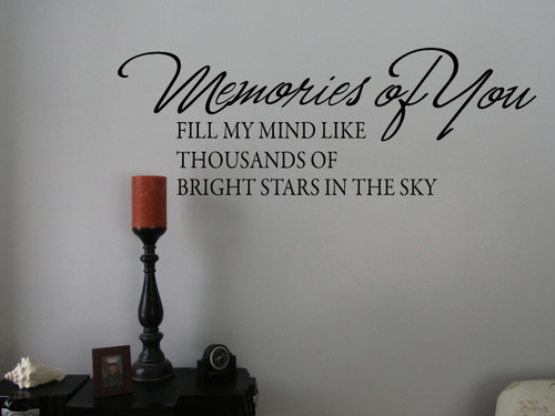 Memories of You Memory Wall Decal Saying Sympathy Vinyl Stickers Words