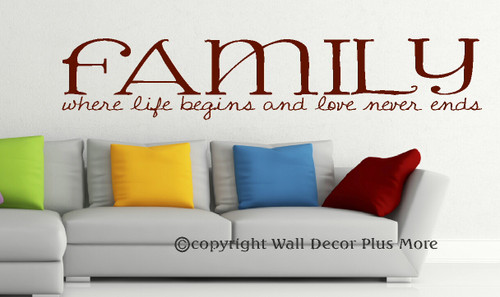 Family Where Life Begins Wall Vinyl Decal Stickers Wall Letters