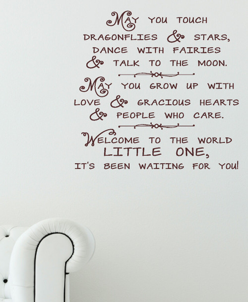 Dragonflies and Stars Wall Decal Quote Vinyl Stickers for Nursery Room Decor-Chocolate Brown