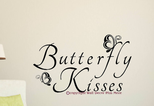 Butterfly Kisses Wall Decal Letters Vinyl Stickers for Girls Room