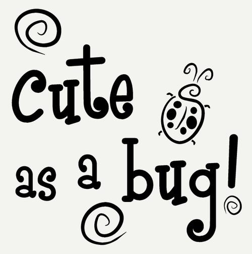 Cute as a Bug with Ladybug and Swirls Wall Art Sticker Girls Vinyl Decals