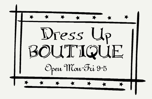 Dress Up Boutique Wall Sticker Decals Wall Words for Girls Room Decor