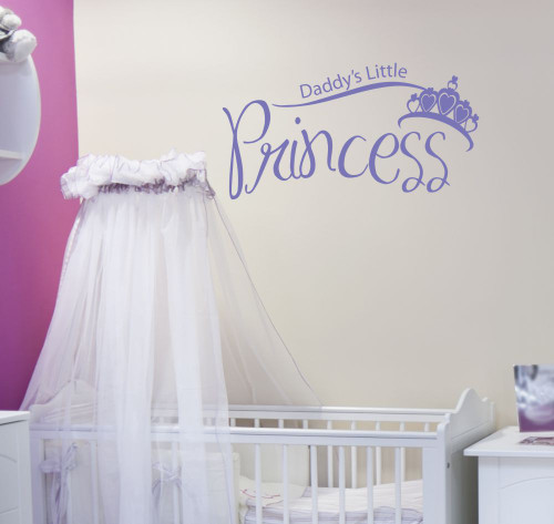 Daddy's Little Princess with Crown Vinyl Wall Decal Art Stickers