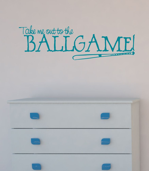 Take Me Out to the Ballgame with Bat Sports Wall Decals Baseball Teal