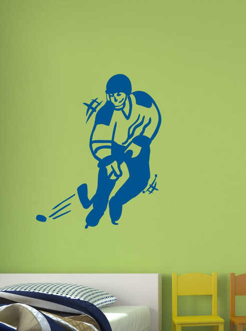 Hockey Player Sports Wall Art Decal Stickers Traffic Blue