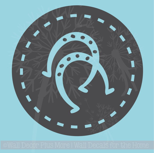 Horse shoes in Circles Wall Decal Western Bedroom Decor  Vinyl Art