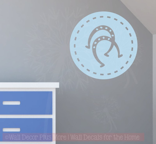 Horse shoes in Circles Wall Decal Western Bedroom Decor  Vinyl Art-Powder Blue