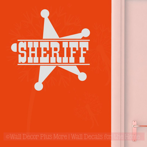 Sheriff with Star Western Wall Decal Vinyl Lettering Art Boy Decor-Light Gray