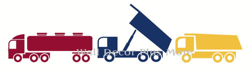 Semi and Dump Truck Set Wall Sticker Colors Shown are Red, Deep Blue, Honey