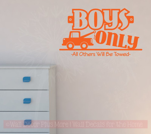 Boys Only Others Towed Wall Decal Stickers for Room Decor-Orange