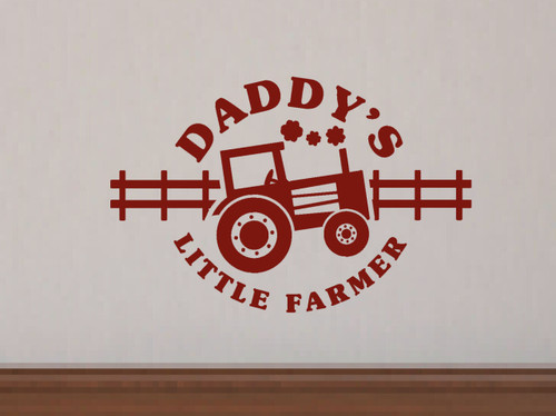 Daddy's Little Farmer Boys Wall Decal Stickers with Tractor Art Graphics