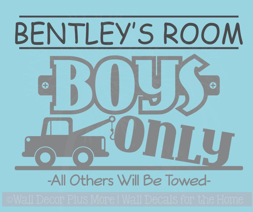 Personalized Boys Only all others Towed Boys Vinyl Wall Sticker Decals
