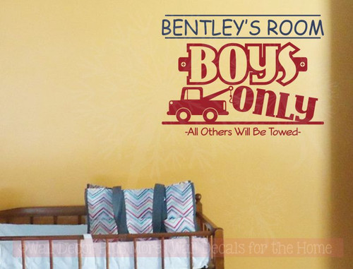 Personalized Boys Only all others Towed Boys Vinyl Wall Sticker Decals-Deep Blue, Red
