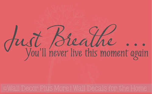 Just Breathe... Wall Vinyl Decals Sticker Wall Quotes