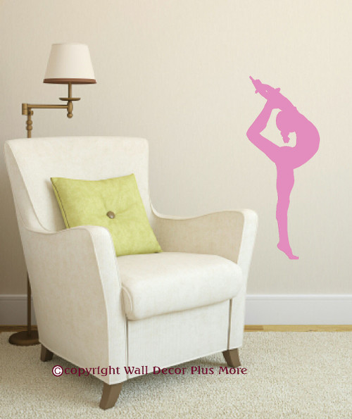 Stretching Gymnast Silhouette Girl's Wall Decal Vinyl Stickers Art