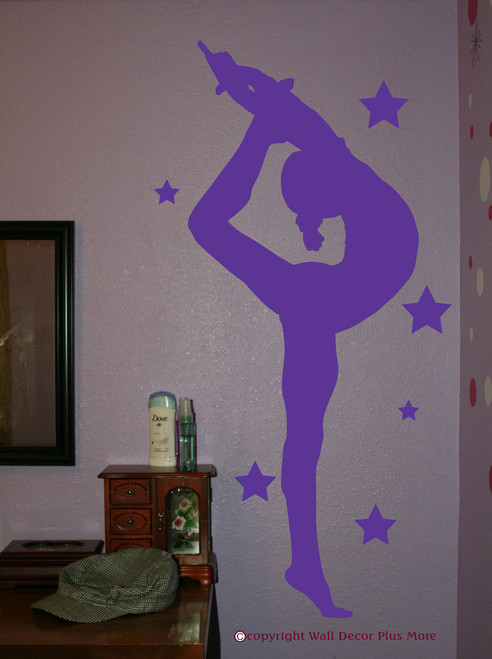 Gymnast Silhouette with Stars Girls Wall Sticker Vinyl Wall Art Decals