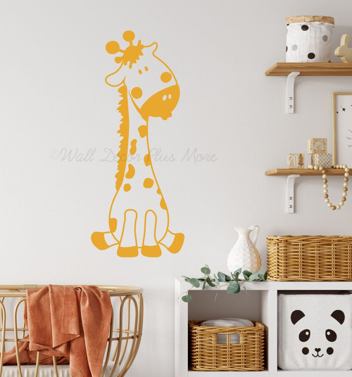 Baby Giraffe Vinyl Wall Art Sticker Decals for Nursery or Child's Room Decor-Honey