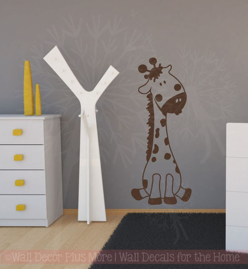 Baby Giraffe Vinyl Wall Art Sticker Decals for Nursery or Child's Room Decor-Chocolate Brown