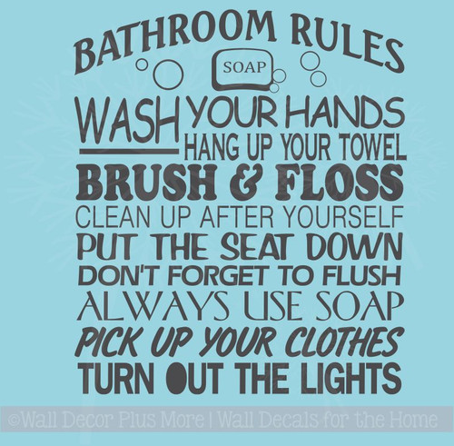 Bathroom Rules Subway Art Wall Sticker Vinyl Decal Bath Wall Letters