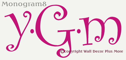 Funky Letter Monogram Wall Stickers Custom Vinyl Decals Wall Letters