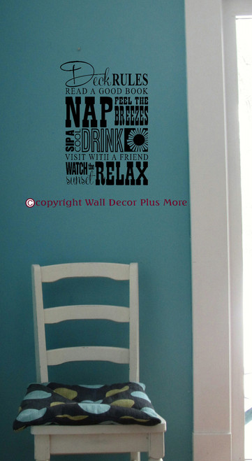 Deck Rules - Sip, Nap, Relax Subway Art Wall Decals Vinyl Stickers Letters