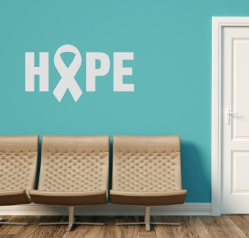 Hope with Ribbon Breast Cancer Awareness Vinyl Decal Letters Wall Stickers