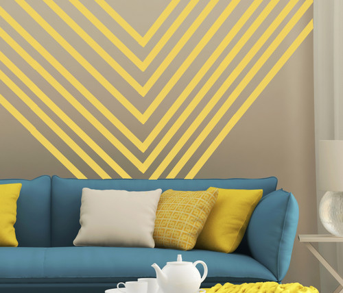 Peel n Stick Wall Application - 1 inch Buttercream Stripes to create a Wall Design