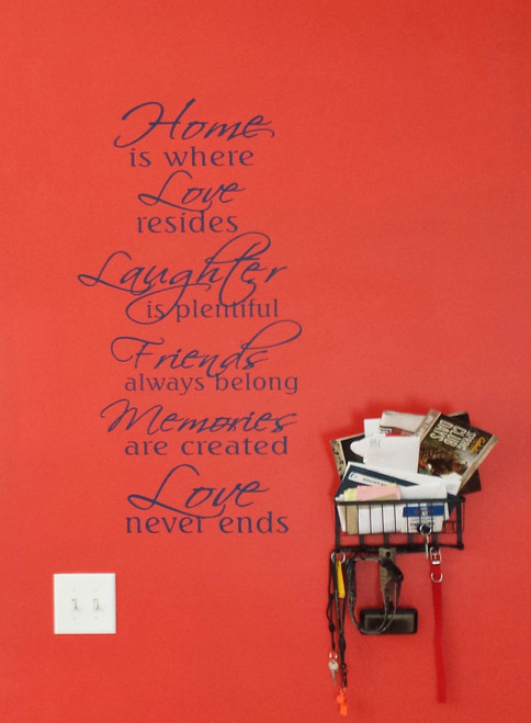 Home Is Where Love Never Ends Family Vinyl Wall Sticker Decals Wall Letters-Deep Blue
