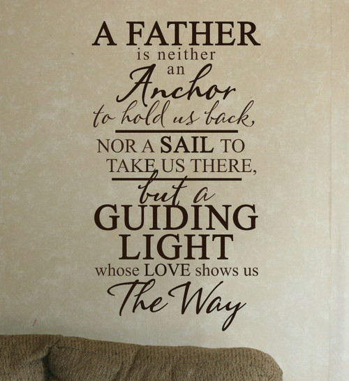 A Father is A Guiding Light Wall Decal Stickers Vinyl Wall Letters for Office or Home