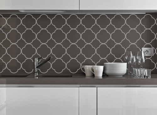Quatrefoil Pattern Vinyl Wall Decal Sticker Shapes for Wall Décor Light Gray Kitchen Backsplash