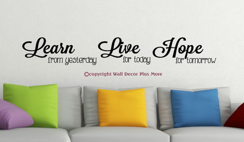 Learn Live Hope Vinyl Wall Sticker Decals Inspirational Quotes Wall Letters