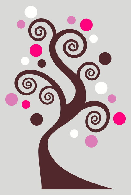 Swirly Tree Sticker Vinyl Wall Art Decals with Polka Dots in 4 colors Chocolate Brown Hot Pink Soft Pink and White