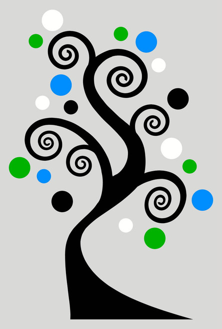 Swirly Tree Sticker Vinyl Wall Art Decals with Polka Dots in 4 colors Black Lime Green Geyser Blue and White