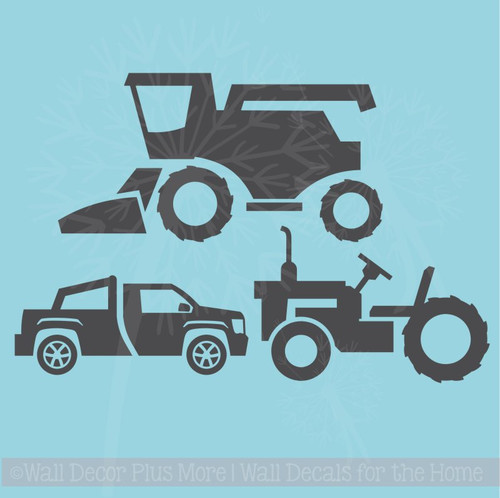 Boys Farm Wall Decals Stickers Set of 3 - Combine, Tractor, Truck