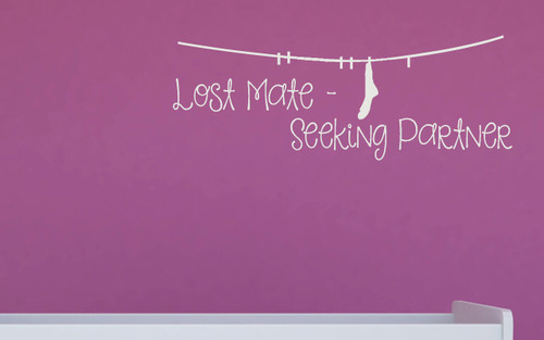 Lost Mate - Seeking Partner Sock Laundry Wall Decal Sticker White