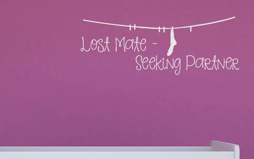 Lost Mate - Seeking Partner Sock Laundry Wall Decal Sticker White