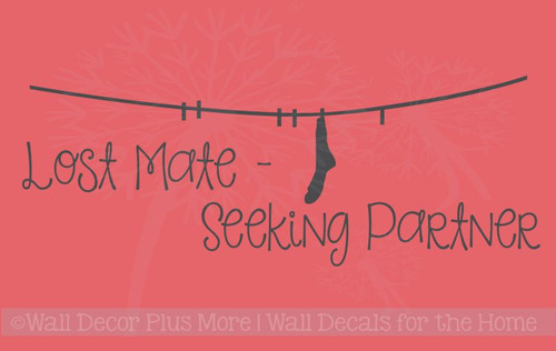 Lost Mate - Seeking Partner Sock Laundry Wall Decal Sticker