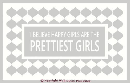 Happy Girls Are The Prettiest Girls Wall Decal for Cancer Awareness White