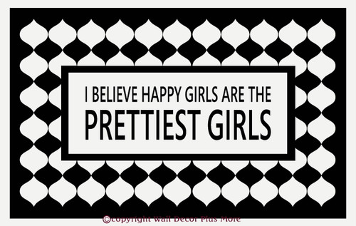 Happy Girls Are The Prettiest Girls Wall Decal for Cancer Awareness Black