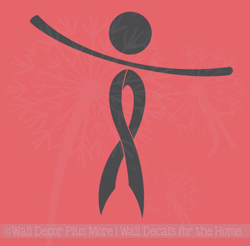 Cancer Awareness Ribbon Person Wall Decal Sticker