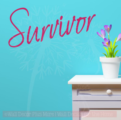 Survivor Wall Decal Lettering for Cancer Awareness-Hot Pink