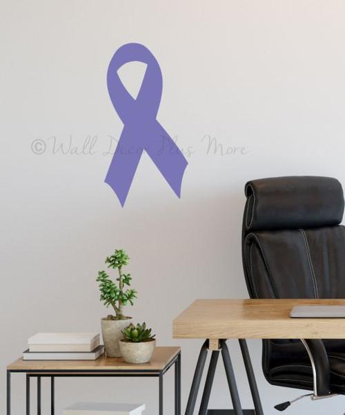 Pancreatic Cancer Awareness Ribbon Wall Decal 23x12.5 Purple