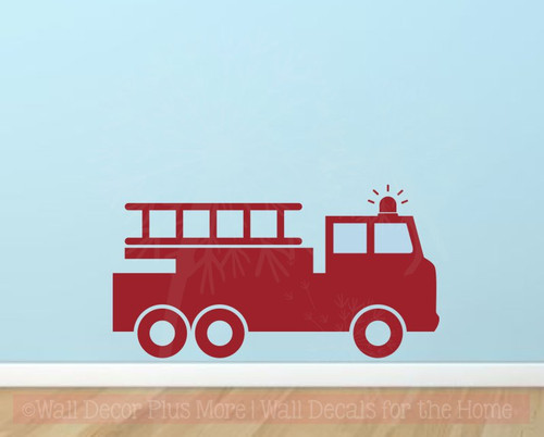 Fire Truck Wall Decal Sticker for Boys Room Wall Art Decoration Red