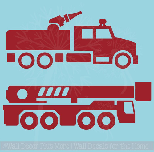 Firetruck Wall Decals, set of 2, for Boys Room Wall Art