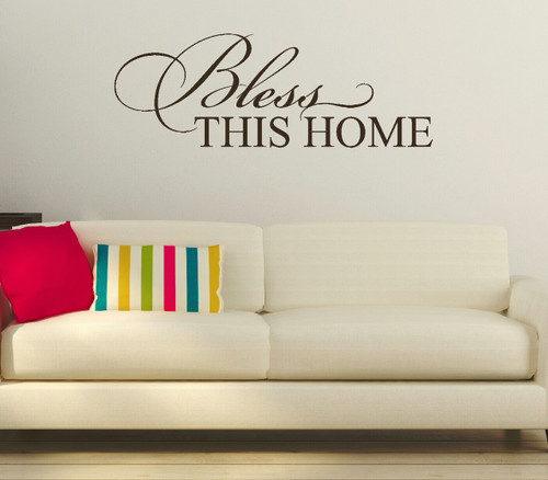 Bless This Home Entryway Wall Decal Quote